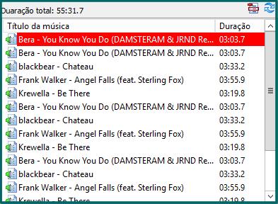 Listagem da playlist