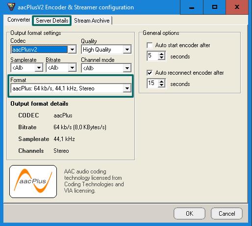 Selecione a opção 'aacPlus: 64 kb/s, 44,1 kHz, Stereo'