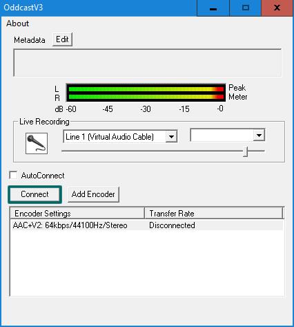 Clique em 'Connect' para iniciar a transmissão