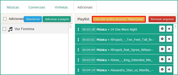 Botão 'Intercalar áudios da pasta Hora Certa'