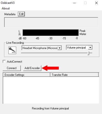 Sinalização da opção Add Encoder no OddCast.