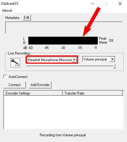 Definição do driver responsável pela captação do áudio no OddCast.