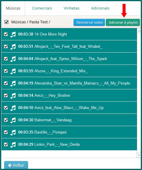 Botão 'Adicionar à playlist'