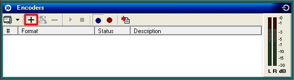Clique no ícone '+' para adicionar um novo Encoder